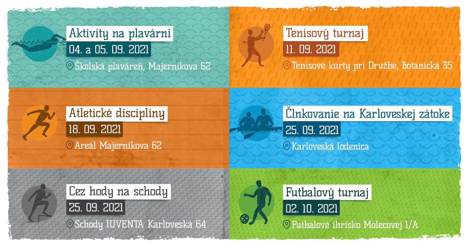 Strapec športových podujatí v Karlovej Vsi - rôzne podujatia - rôzne termíny