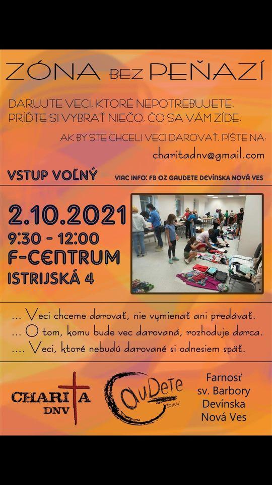 Zóna bez peňazí - 2.10.2021 od 9:30 do 12:00, F-Centrum, Devínska Nová Ves - podľa počasia vonku alebo dnu