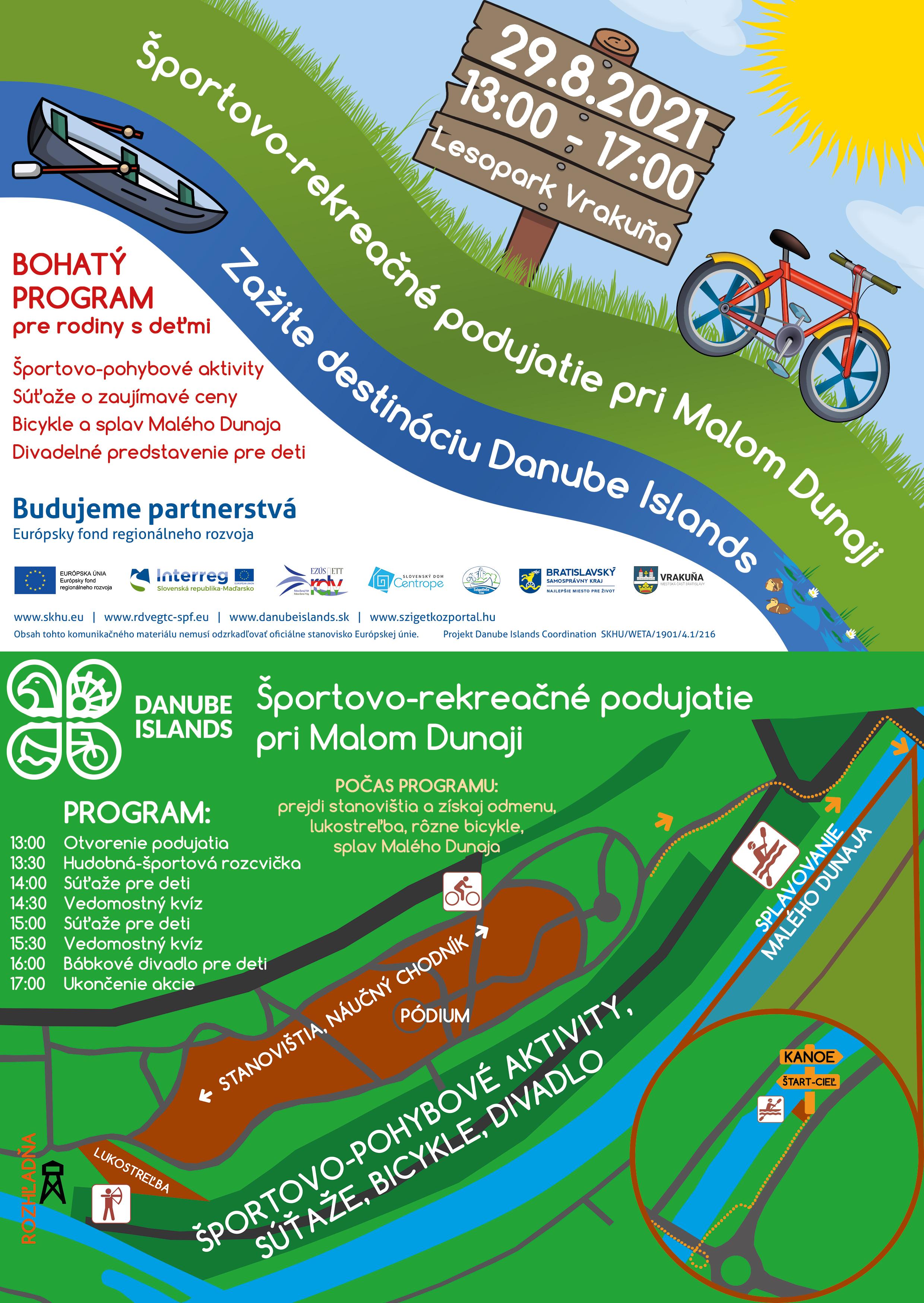 Športovo-rekreačné podujatie pri Malom Dunaji - 29.8.2021 od 13:00 do 17:00 v Lesoparku Vrakuňa