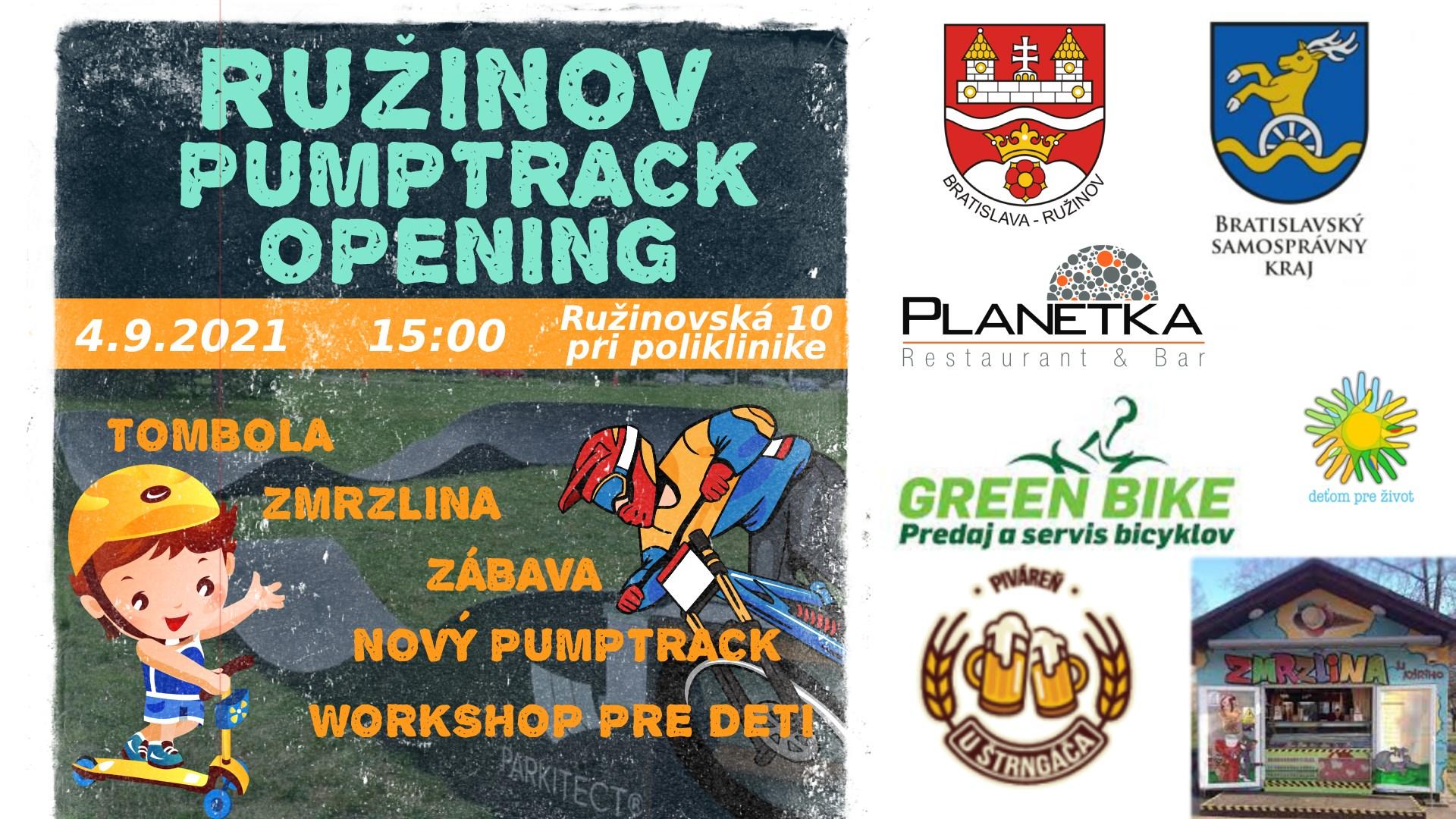 Ružinov Pumptrack Opening - 4.9.2021 o 15:00, pri Poliklinike v Ružinove