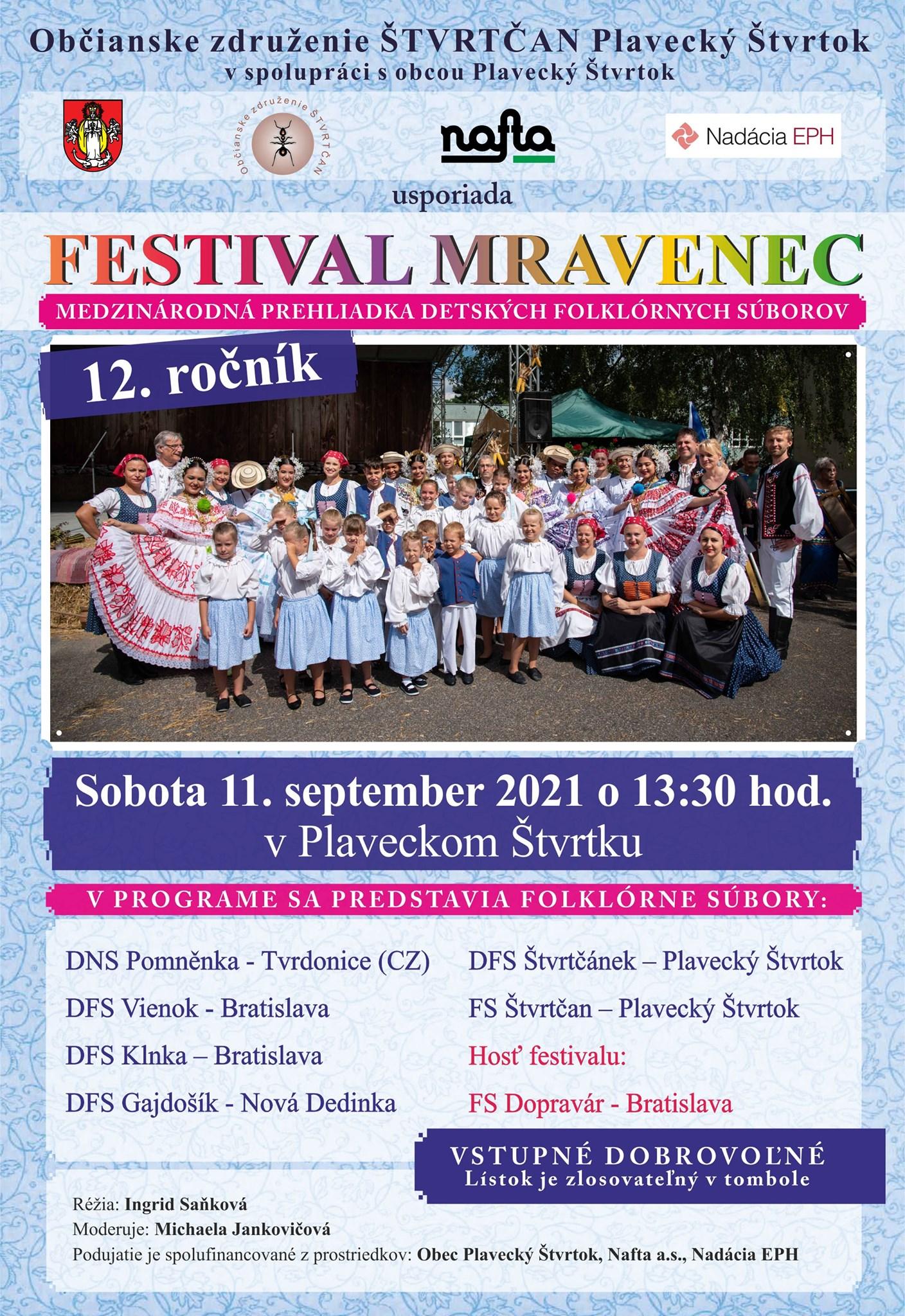 Festival Mravenec 2021 - 11.9.2021 o 13:30 v Plaveckom Štvrtku