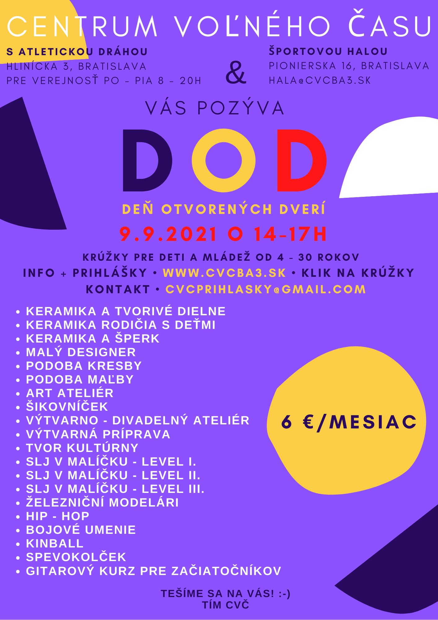 Deň otvorených dverí v CVČ Krasňany - 9.9.2021 od 14:00 do 17:00